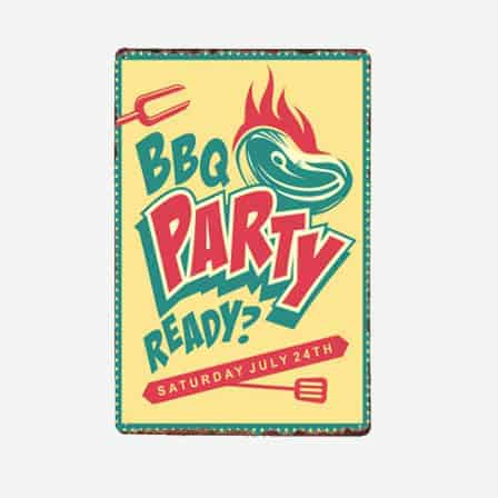 BBQ Party Ready vintage tin sign